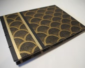 Art Deco Guest Book: Black and Gold Wedding Guest Book Journal Notebook