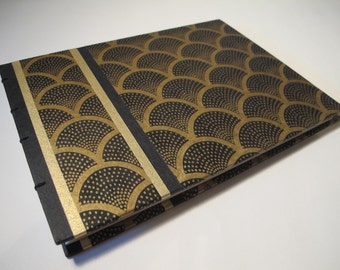 Art Deco Guest Book: Black and Metallic Gold Wedding Guest Book Journal Notebook