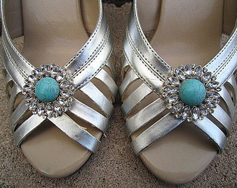 Shoe Clips Rhinestone Turquoise Stone Set Of  2 - Wedding Shoe Accessory -- OLIVIA