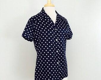 SALE // Navy PolkaDot Blouse // 70s Blue and White Nautical Sailor Rockabilly Pin Up // Size Medium