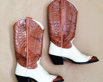 SALE // ACME Western Boots // Vintage 70s Cowboy Hippie Boho Folk Rocker Knee High Shoes // Ladies SIZE 6