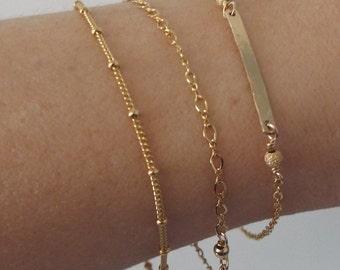 Gold Satellite Bracelet- 14k Gold Filled Beaded Bracelet, Beaded Chain, Dainty Bracelet, Delicate Bracelet, Thin layered bracelet, minimal