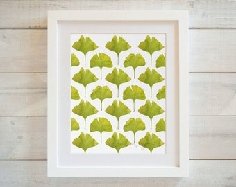 Ginkgo Art Print, Watercolor Ginkgo Print, Watercolor Leaves Art, Leaf Pattern, Nature Print, Leaf Print, 8x10