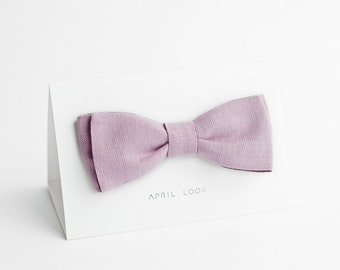Men's bow tie, pink lilac bow tie - double sided