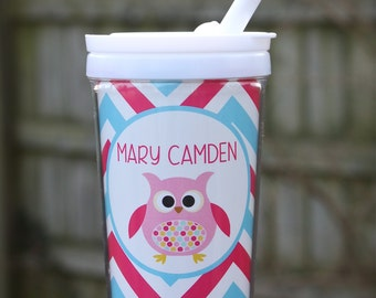 Personalized Owl Sippy Cup with Straw