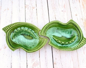 California Pottery 676 Ashtray, Green and Aqua Drip Glaze Ashtray, Mid Century Modern Ashtray Set, Pair of Retro Drip Glaze Ashtrays,