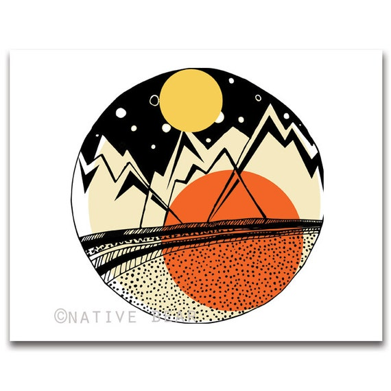Geometric Mountains Print