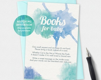 Printable baby shower books for baby card, watercolor books for baby, watercolor book card, blue baby shower printable, baby book card