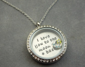 I love you to the moon and back, floating locket,  stainless steel, rhinestone locket