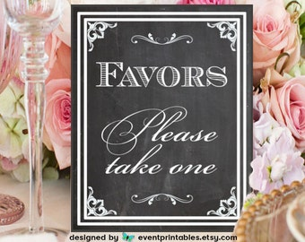8x10 Chalkboard Favors Sign, DIY Printable Wedding Poster or Table Sign, Vintage Chalkboard, INSTANT DOWNLOAD by Event Printables