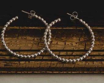 Sterling Silver Hoop Earrings-Silver Hoops-Silver Beaded Hoop Earrings-Geometric Jewellery-Boho Earrings