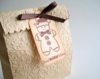 Gingerbread Man Christmas Tags -Sweet Holiday Wishes Tags - Christmas Packaging Tags - Set of 6