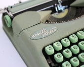 Hermes Rocket Typewriter - Working Portable Manual Typewriter - c. 1957 -Seafoam Mint Green Keys - Mid Century Modern - Made in Switzerland