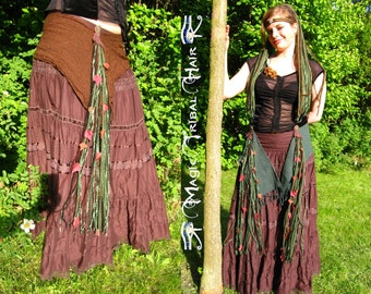 STEAMPUNK FAIRY ACCESSORY Cosplay amazon yarn falls with leaves Woodland fairy hip tassel Tribal Fusion Belly Dance headpiece Larp hair fall