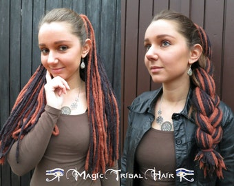 STEAMPUNK DREADLOCKS Black Brown Goth DREADS Neo-Victorian yarn dread falls Renfaire hair piece Tribal Fusion belly dance dreads extensions
