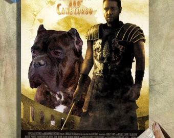 Cane Corso Vintage Movie Style Poster Canvas Print - Gladiator NEW Collection by Nobility Dogs