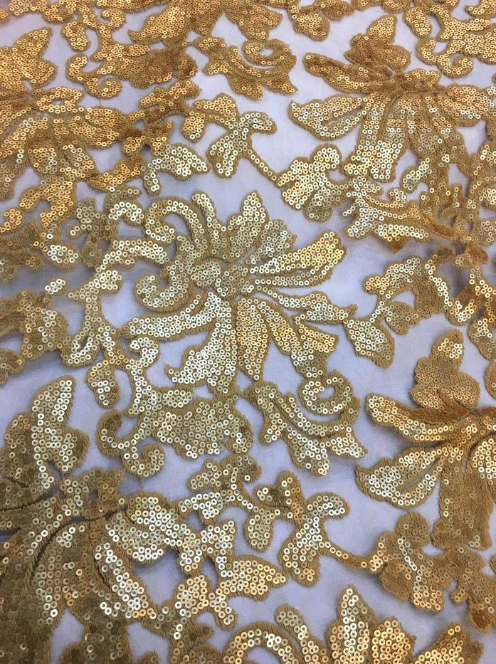 Sequin lace fabric gold beyonce floral fashion by for Sequin fabric