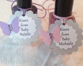 Set of 12 Mini Personalized Kisses From Baby Name Butterfly Tags - Shimmery Gray, White, Purple and Pink - Baby Shower - Favor Gift Tags