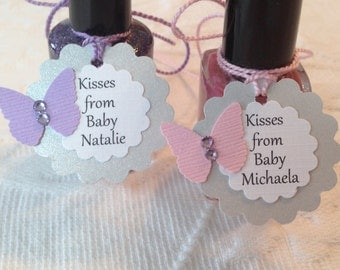 Kisses From Baby Butterfly Tags - Personalized Butterfly Thank You Tags - Shimmery Gray, White, Purple and Pink - Baby Shower Favor Tags