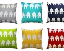 Accent Pillow, Elephant Pillow Cover, Nursery Decor, Animal Prints, Zippered Pillow, Elephant Decor, Baby Bedding, Bed Decorative Pillows
