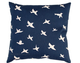 Navy Throw Pillow Cover, Bird Silhouette Pillow, Bird Pillow Case, PREMIER Navy Blue Sham, Nature Pillow, Zippered Pillow, Navy Bed Pillows