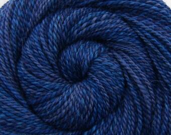 Handspun Yarn - WILD BLUEBERRIES - Handpainted Masham wool, 2 ply Worsted weight, 206 yards