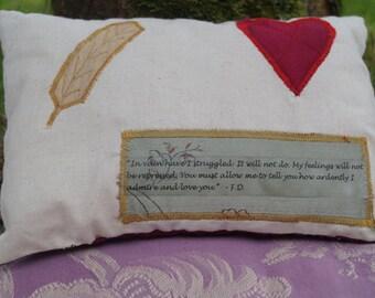 Pride and Prejudice Quote Jane Austen Mini Cushion Pillow Mr Darcy
