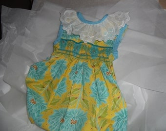 Size 18 Months, Handsmocked  Baby  Girl Bubble, Yellow and Teal Floral Print