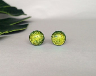 Light Green duchroic glass stud earrings, on sterling silver - Fused dichroic glass