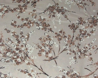 """White & Brown Flower Print Fabric - Vintage Cotton Fabric Yardage - Small Floral Print - 2.5 yd x 34"""""""