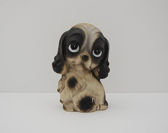 Ceramic Big Eye Dog, Vintage Sad Eye Pity Puppy Style Figure, 60's Kitsch Margaret Keane Style