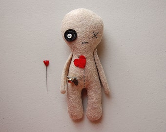 Voodoo Doll, Plush Voodoo Toy, Handmade Rag Doll, Halloween Decor Plushie