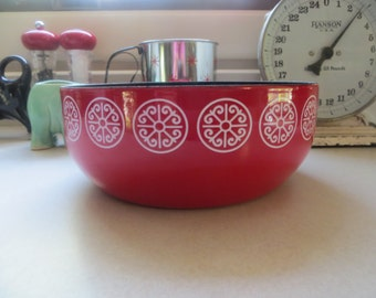 Red Enamel Bowl Serving Bowl Red Asta Bowl Fissler Enamel Bowl Germany Enamelware Red Kitchen Modern Enamel