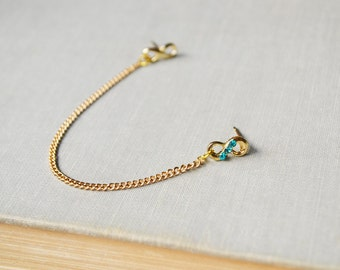 Blue Crystal Gold Infinity Cartilage Earring (Single-Side)