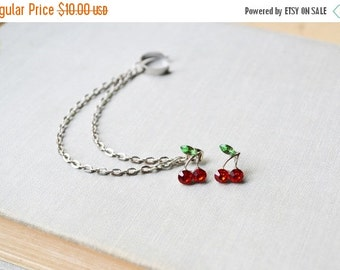 VALENTINES DAY SALE Red Cherry Silver Double Chain Ear Cuff Earrings (Pair)