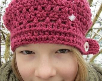 Crochet Pattern for Button Beret