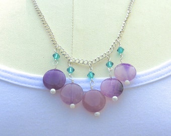 Purple Dropped Bib Necklace, Teal Swarovski Crystal Accents, Fire Agate Necklace, Silver Plated Chain