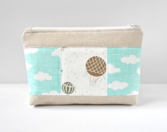 Woman's linen padded travel bag aqua hot air balloon and cloud sky print cosmetics make up pouch in aqua blue,brown and white