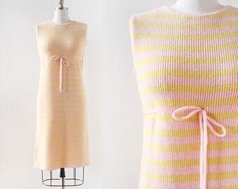 Striped Knit Dress / 1960s Knit Dress / 1960s Dress / Yellow and Pink / Striped Dress / Sleeveless Knit Dress / Small Medium / Large