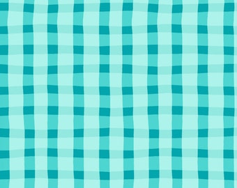 Sale Turquoise plaid cotton fabric by Windham fabrics 4136-2
