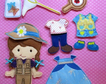 Complete Non Paper Felt Doll Set - Butterfly Girl with 4 Outfits