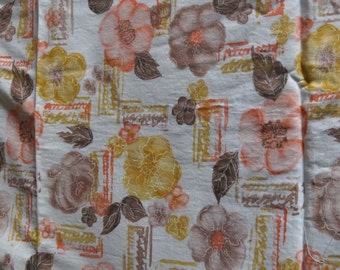 """Vintage cotton 1930's, 40's, 50's floral wild roses, leaves, fabric, 35""""x 58"""", peach, gold yellow, brown on white, no holes, stains, odors"""