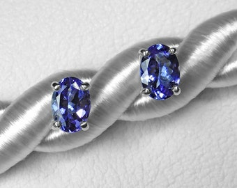 Tanzanite Earrings in Silver or Gold, 7 x 5 mm