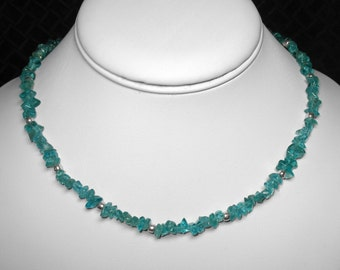 """Blue Apatite Necklace in Silver, 17"""""""