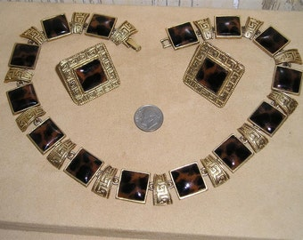 Vintage Leopard Pattern Necklace Clip On Earrings Set 1970's Jewelry 2294