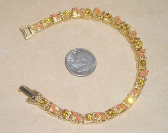 Vintage Faux Coral And Rhinestones Box Link Bracelet 1970's Jewelry 4132