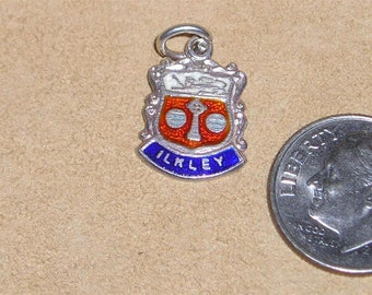 Vintage Signed Sterling Silver ILKLEY Travel Shield Charm Or Pendant 1950's Jewelry  6001