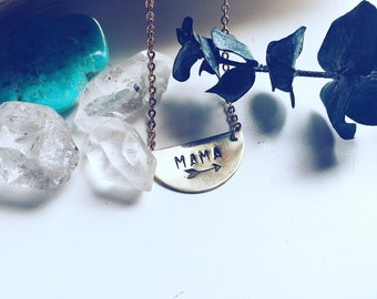 MAMA Handstamped Brass Layering Necklace