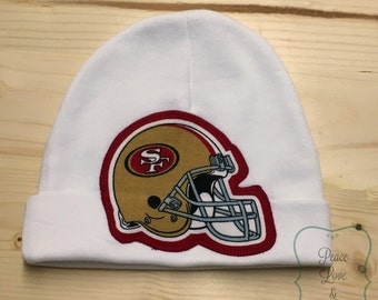 San Francisco 49ers Baby Hat Made from 49ers Fabric, 49ers Baby, SF Baby, Baby Boy 49ers, Baby 49ers Hat, Baby Shower Gift, New Baby Gift