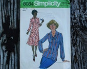 Simplicity 8084 1970s 70s Blouse Midi Skirt Vintage Sewing Pattern Size 12 Bust 34